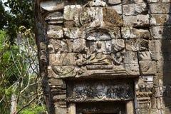 Antyczne ruiny Preah Palilay świątynia w Angkor Wat kompleksie, Kambodża Kamienny bareliefu zbliżenie Kamienna świątynna ruina obraz royalty free