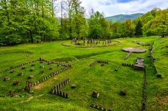 Antyczne ruiny przy Sarmizegetusa Regia, Transylvania, Rumunia zdjęcia royalty free