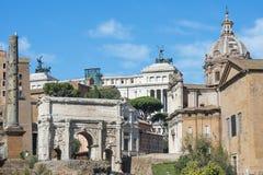 Antyczne ruiny Romański forum w Rzym, Włochy zdjęcia royalty free