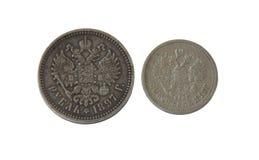 Antyczne srebne monety, Rosyjski imperium podczas królowania Nicholay 2 Obrazy Royalty Free