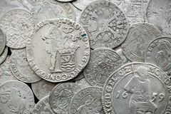 Antyczne srebne średniowieczne monety Fotografia Royalty Free
