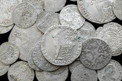 Antyczne srebne średniowieczne monety Obrazy Stock