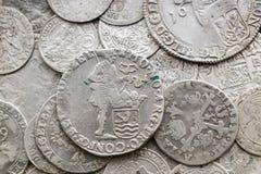 Antyczne srebne średniowieczne monety Obrazy Royalty Free