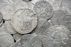 Antyczne srebne średniowieczne monety Obraz Stock