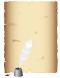 antycznego atramentu pergaminowy pióro royalty ilustracja