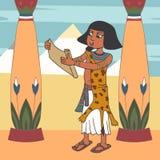 Antycznego egipskiego księdza czytelnicza papirusowa ślimacznica przy pałac kreskówką royalty ilustracja