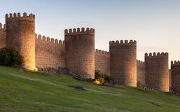 Antycznego miasta ściana w Avila, ból Fotografia Stock