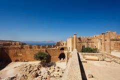 Antycznej świątyni ruiny Lindos akropol, Grecja Zdjęcia Stock