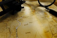 Antycznej Calcutta India mapy ciemny brzmienie Zdjęcia Royalty Free