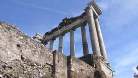 Antycznej cywilizaci świątynny filar w forum Romanum Rzym Włochy Obraz Stock