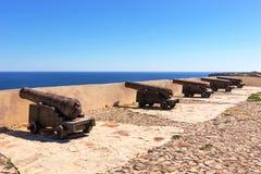 Antyczni brązowi działa przy fortecą Cabo De Sao Vincente, Sagres obrazy royalty free