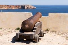 Antyczni brązowi działa przy fortecą Cabo De Sao Vincente, Sagres Zdjęcia Stock