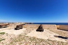Antyczni brązowi działa przy fortecą Cabo De Sao Vincente, Sagres Zdjęcie Stock