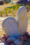 Antyczni cyzelowania z dziejowymi petroglifami w Kirgistan Obrazy Stock