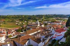 Antyczni domy Portugalska wioska Obidos i ulicy obraz royalty free