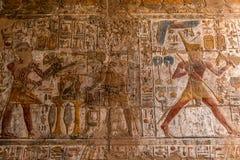 Antyczni hieroglify i reliefowi rytownictwa rzeźbili w kamienną ścianę przy Luxor świątynią akademie królewskie obraz stock