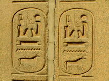 Antyczni hieroglyphics na pokazu outside Egipskim muzeum, Kair Zdjęcia Stock