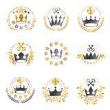 Antyczni korona emblematy ustawiający Heraldyczny wektorowy projektów elementów coll ilustracja wektor