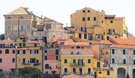 Antyczni Liguryjscy domy Porto Maurizio obrazy royalty free