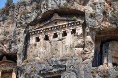 Antyczni Lycian grobowowie i ruiny Caunos, Dalyan, Turcja Obraz Royalty Free