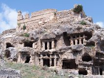 Antyczni Lycian skały grobowowie obraz royalty free