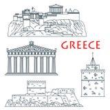 Antyczni podróż punkty zwrotni Grecja cienieją kreskową ikonę Obrazy Stock
