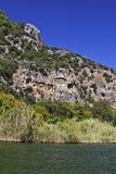 Antyczni rockowi grobowowie w Dalyan Obraz Stock