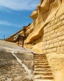 Antyczni schodki w forcie Tigne (Sliema) Obraz Royalty Free