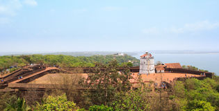 Antyczny Aguada fort, latarnia morska i budowaliśmy w xvii wiek Obraz Royalty Free