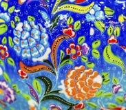 Antyczny Arabski Islamski Błękitny kwiatu projekt Ceramiczny Madaba Jordania fotografia stock