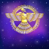 Antyczny Asyryjski oskrzydlony bóstwo Charakter Sumerian mitologia ilustracja wektor