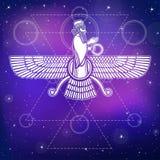Antyczny Asyryjski oskrzydlony bóstwo Charakter Sumerian mitologia royalty ilustracja