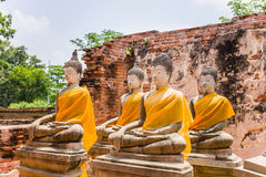 Antyczny Buddha nad 500 rok w Ayutthaya Zdjęcie Royalty Free