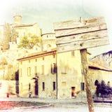 Antyczny budynek z przetartym drewnianym puste miejsce znakiem Winieta skutek Obraz Stock