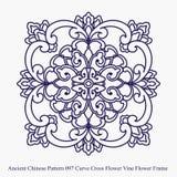 Antyczny chińczyka wzór krzywa krzyża kwiatu winogradu rama ilustracji