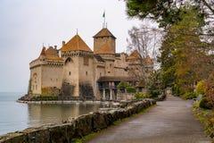 Antyczny Chillon kasztel przy Jeziornym Genewa Obraz Royalty Free