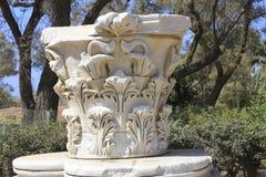 Antyczny collumn przy Antycznym miastem Biblijny Ashkelon w Izrael Zdjęcia Royalty Free