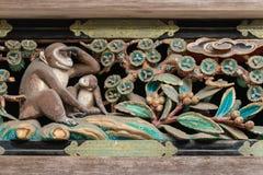 Antyczny cyzelowanie na świątyni w Nikko Gu Obrazy Stock