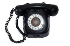 Antyczny czarny retro telefon Zdjęcia Royalty Free