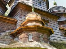 Antyczny drewniany St George kościół, fasadowy czerep Drohobych, Ukraina fotografia royalty free