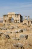 Antyczny dziejowy miejsce Romańskie ruiny Volubilis blisko Meknes, Maroko, Afryka zdjęcia royalty free