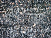 Antyczny egipski hieroglif rzeźbiący w czerń kamieniu Fotografia Royalty Free