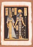 Antyczny Egipski papirus - Egipska królowa Cleopatra Fotografia Royalty Free