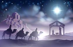 antyczny figurek narodzenia jezusa sceny set ilustracja wektor