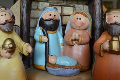 antyczny figurek narodzenia jezusa sceny set zdjęcie stock