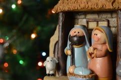 antyczny figurek narodzenia jezusa sceny set zdjęcia stock