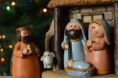 antyczny figurek narodzenia jezusa sceny set obraz stock
