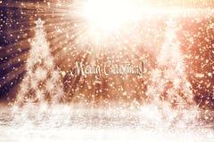 antyczny figurek narodzenia jezusa sceny set Choinki w śniegu w promieniach światło zdjęcie royalty free