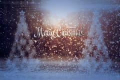 antyczny figurek narodzenia jezusa sceny set Choinki w śniegu w promieniach światło zdjęcia royalty free