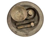 Antyczny inkasowy mosiężny pucharu chinaware Obrazy Royalty Free